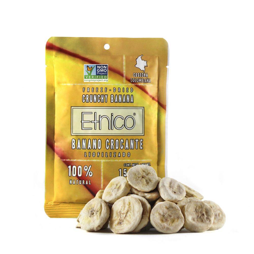 Empaque con producto de banano liofilizado pequeño