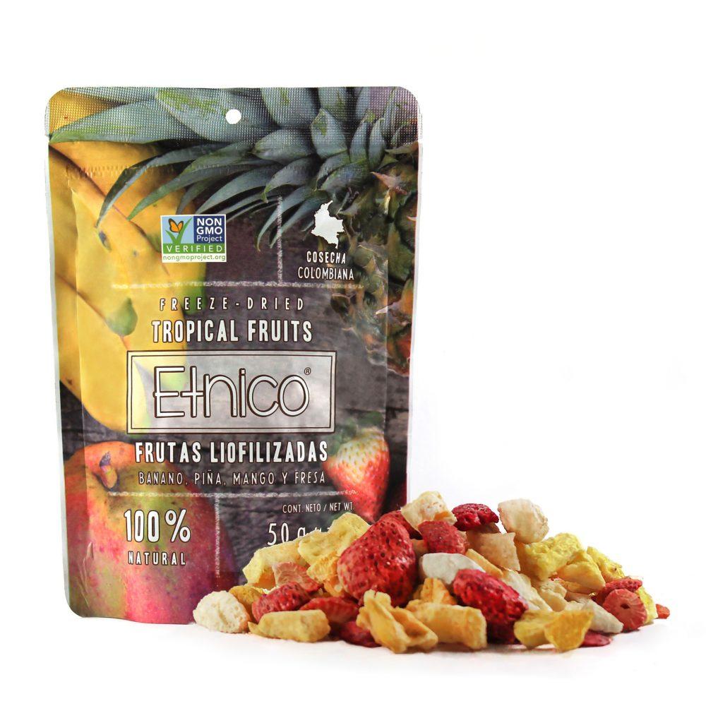 Empaque con producto de mix tropical liofilizado grande